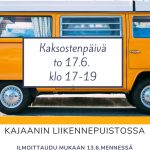 Kuvassa keltainen linja-auto, jonka päällä on teksti: Kaksostenpäivä to 17.6. klo 17-19, Kajaanin liikennepuistossa. Ilmoittaudu mukaan 13.6. mennessä